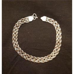 Flätat platt silver armband