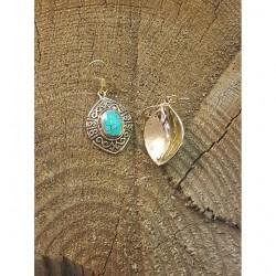 Turkos sten örhängen brons.
