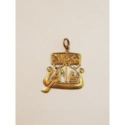 Vikinga båt hänge brons